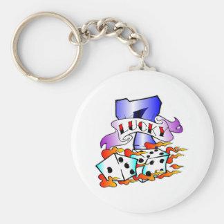 Lucky 7 & Dice Tattoo Basic Round Button Keychain