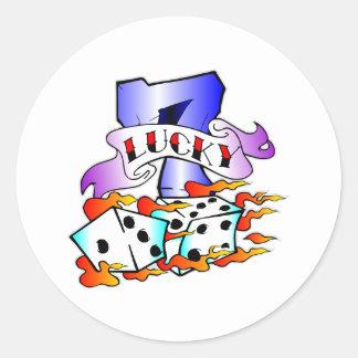 Lucky 7 & Dice Tattoo Classic Round Sticker