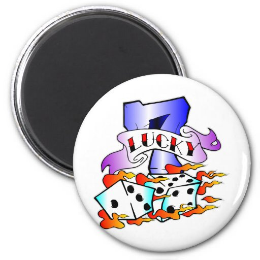 Lucky 7 w/ Dice 2 Inch Round Magnet