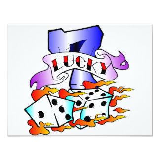 Lucky 7 w/ Dice 4.25x5.5 Paper Invitation Card