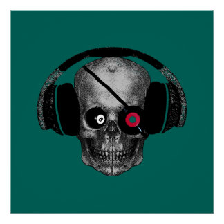 Lucky 8 Ball Pirate Dj with Vinyl Record Eye Patch Poster