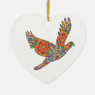 Lucky ANGEL Bird - Perfect Goodluck GIFT Double-Sided Heart Ceramic Christmas Ornament