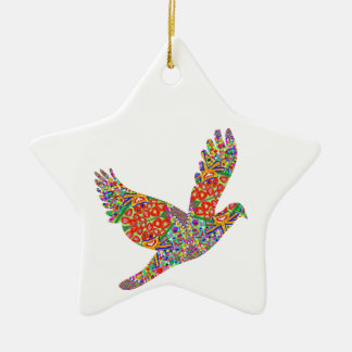 Lucky ANGEL Bird - Perfect Goodluck GIFT Double-Sided Star Ceramic Christmas Ornament