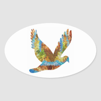 Lucky Angel Bird : Trophy Cup n Awards Oval Sticker