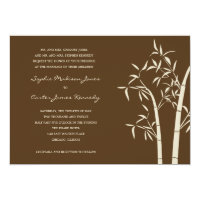 Lucky Bamboo Wedding Invitation - Brown