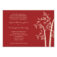 Lucky Bamboo Wedding Invitation - Red