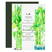 Lucky Bamboo Wedding Invitations Watercolor