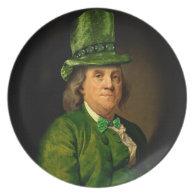 Lucky Ben Franklin Framed for St Patrick's Day Dinner Plate