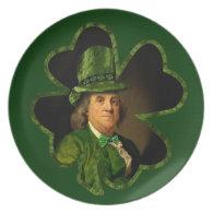Lucky Ben Franklin Shamrock Dinner Plate