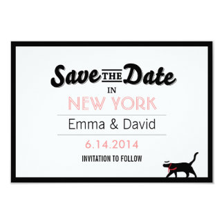 Lucky Black Cat Bold Border Save the Date Cards