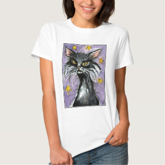 Lucky black cat on starry night tee shirt