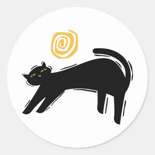 Lucky Black Cat Round Stickers