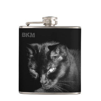 Lucky Black Cat Wants a Nip Hip Flask