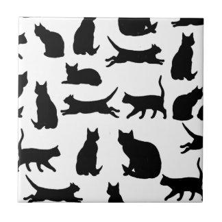LUCKY BLACK CATS TILE