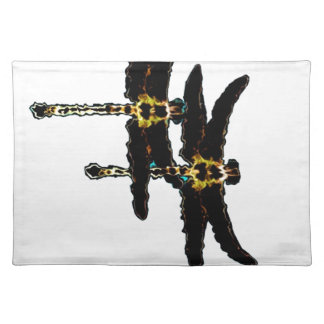 Lucky Black Dragonflies by Sharles Place Mats