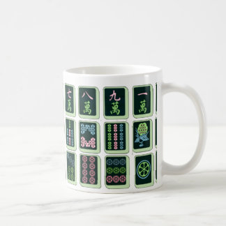 Lucky Blue Eight Wheel Mahjong Tile Coffee Mug