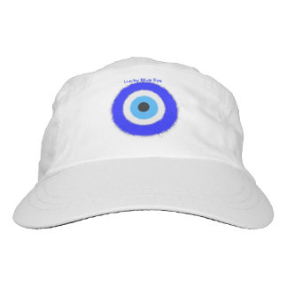 Lucky Blue Eye Custom Woven Performance Hat, White Headsweats Hat