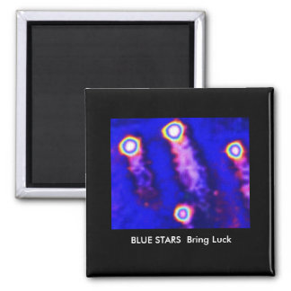 LUCKY Blue Stars 2 Inch Square Magnet