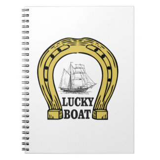 lucky boat at sea spiral notebook