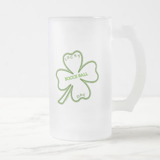 Lucky Bocce Ball Frosted Glass Beer Mug