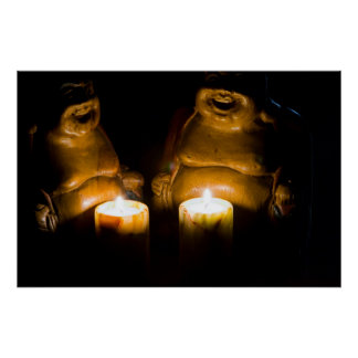 """Lucky buddhas by candle light"" posters"