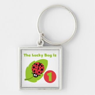 Lucky  Bug 1st Birthday T-shirts and Gifts Silver-Colored Square Keychain