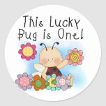 Lucky Bug 1st Birthday T-shirts and Gifts Classic Round Sticker