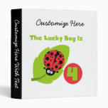 Lucky Bug 4th Birthday T-shirts and Gifts 3 Ring Binders