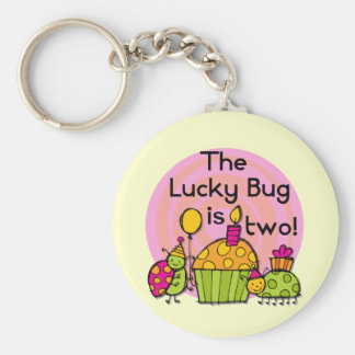 Lucky Bug Cupcake 2nd Birthday T-shirts and Gifts Keychain