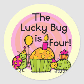 Lucky Bug Cupcake 4th Birthday T-shirts and Gifts Classic Round Sticker