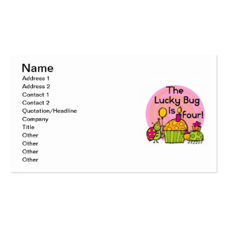 Lucky Bug Cupcake 4th Birthday T-shirts and Gifts Double-Sided Standard Business Cards (Pack Of 100)