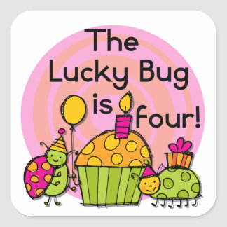Lucky Bug Cupcake 4th Birthday T-shirts and Gifts Square Sticker