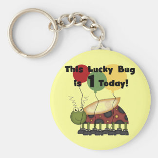 Lucky Bug is One Birthday Tshirts and Gifts Basic Round Button Keychain