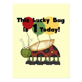 Lucky Bug is One Birthday Tshirts and Gifts Postcard