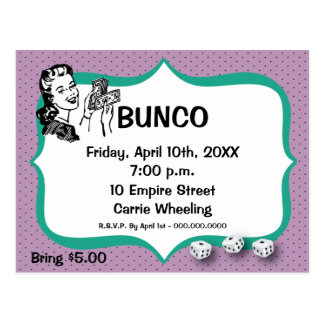 Lucky Bunco Player Postcard Violet and Emerald