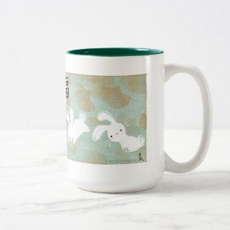 Lucky Bunnies Mug (Green) Two-Tone Mug