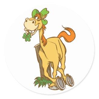 Lucky Cartoon Horse on St Patrick's Day Sticker sticker