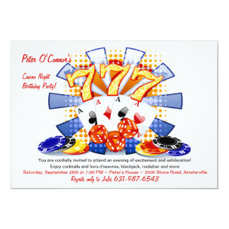 Lucky Casino Night Birthday Invitation