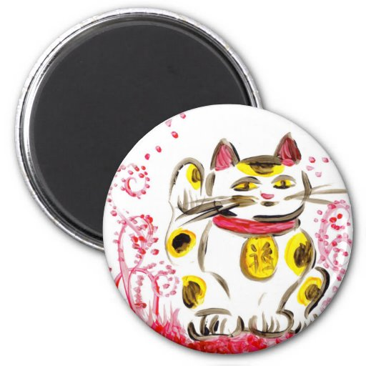 Lucky Cat 2 Inch Round Magnet