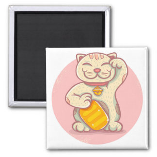 Lucky cat 2 inch square magnet