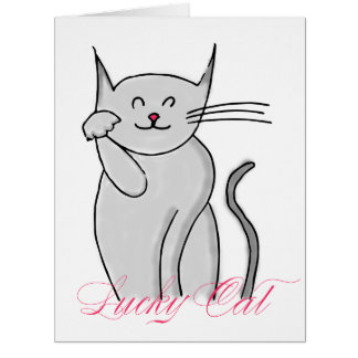 Lucky Cat Big Greeting Card (blank inside)