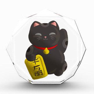 Lucky Cat Black Acrylic Award