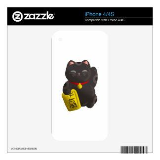 Lucky Cat Black Decals For iPhone 4