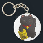 "Lucky Cat Black Keychain<br><div class=""desc"">Original Artwork by Thedustyphoenix. http://www.thedustyphoenix.com</div>"