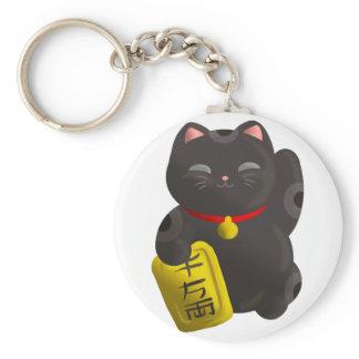 Lucky Cat Black Keychain