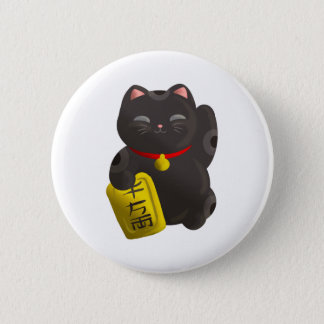 Lucky Cat Black Pinback Button