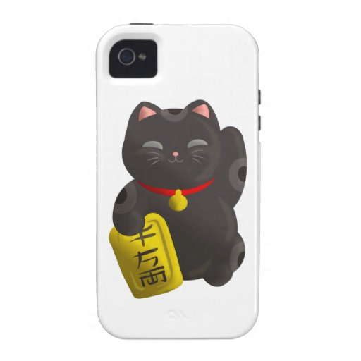 Lucky Cat Black Vibe iPhone 4 Covers