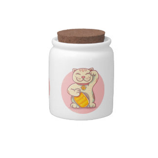 Lucky cat candy jar