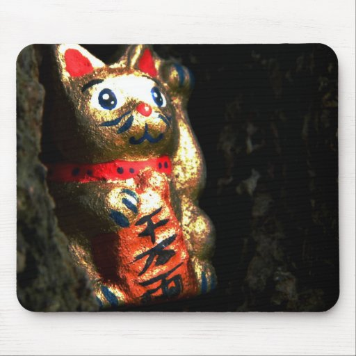 Lucky Cat in Bark Mouse Pads