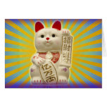 Lucky Cat Japanese Good Luck Waving Cat Greeting Card